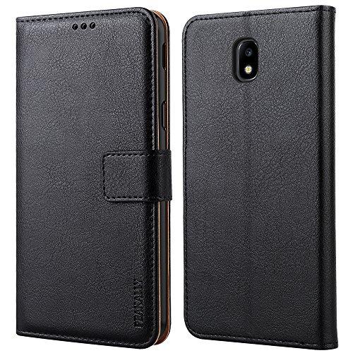 """Peakally Funda Samsung Galaxy J5 2017, Premium Cuero Fundas para Samsung Galaxy J5 2017 [Stand Function] [Ranuras para Tarjetas] Piel PU Carcasa Case con Concha Interna Suave 5.2""""-Negro"""