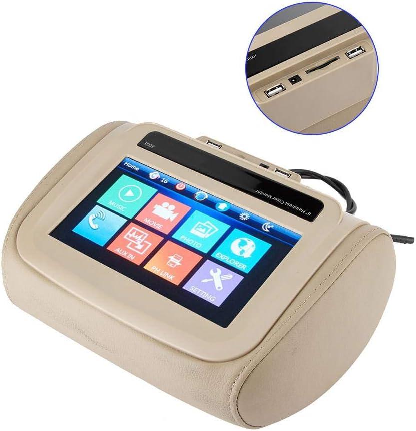 Qiilu 12V Universal Car 8in Headrest Monitor MP5 Video Media Player HD Vehicle Accessory Black