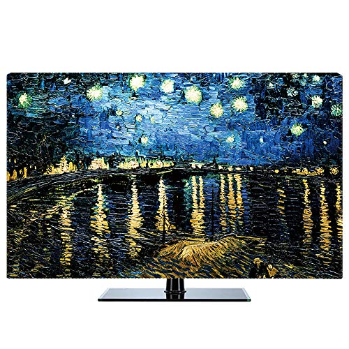 Fernseher Hülle Monitorabdeckungen Mikrofaser Waschbar Universal Displayschutzfolie für 24-80 Zoll TV/Monitor Bildschirm - 32 Zoll (81cm x 50cm) Rhone Sternennacht