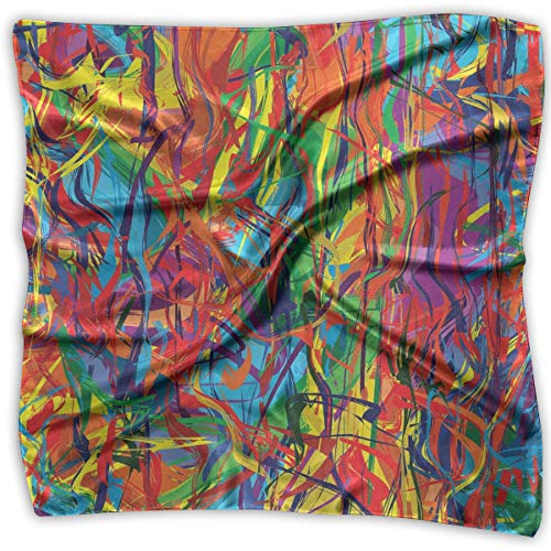 JJIAYI Mixed Designs Silk Square Scarves Bandana Scarf, Circled Rainbow Like Colorful Lines Like Contemporary Oil Painting Artwork,Womens Neck Head Set