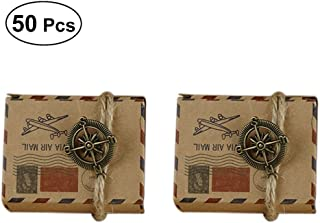 LUOEM 50pcs Vintage Inspired Airmail Design Favor Boxes Bonbonniere with Compass Kraft Paper Treat Boxes Wedding Favors Gift Boxes (with Compass and Hemp Rope)