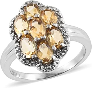 Shop LC Delivering Joy Stainless Steel Oval Citrine Statement Ring for Women Cttw 2.2 Jewelry Gift
