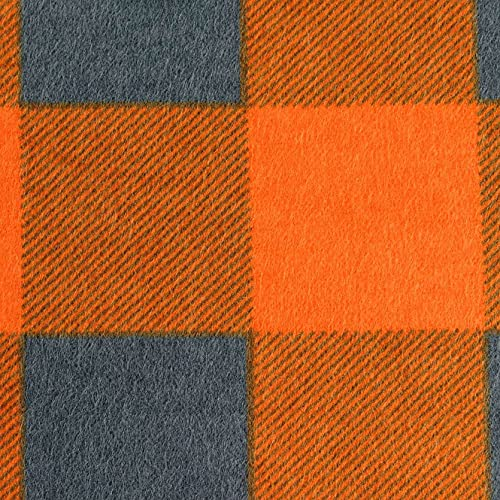 PINSOLA Franela 100 % algodón para ropa | tela de ropa de cama por metros | tela de algodón | tela de ropa | franela de algodón a cuadros naranja – gris | 1 unidad = 0,5 m