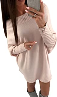 YACUN Donna Maglioni Lunghi Invernali Eleganti Vestito-Autunno Manica Lunga Maglione Mini Abito Senza Spalline