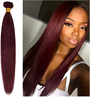Wine Red #99J Remy Human Hair Weave 16inch Long Silky Straight 1 Bundle/100g 6A Unprocessed Virgin Brazilian Hair Weft Extensions for Afro American Women Party