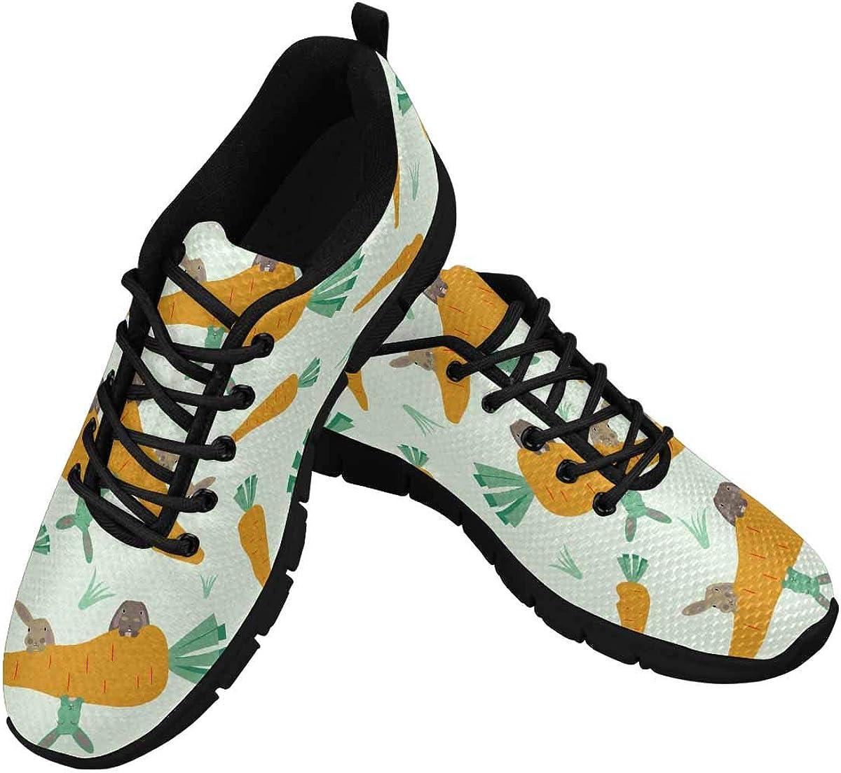 INTERESTPRINT Cute Rabbit Women's Athletic Walking Running Sneakers Comfortable Lightweight Shoes