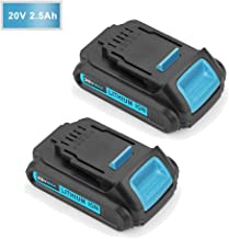 Forrat Replacement for 2.5Ah Dewalt 20V Battery Lithium-ion MAX for DCB203 DCB204 DCB205 DCB205-2 DCB180 DCD985B DCD771C2 DCS355D1 DCD790B Dewalt xr 1/2 inch Compact Cordless Drill Driver Kit 2Packs