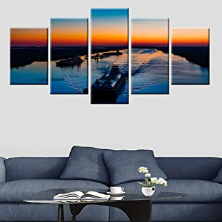 BAOJIAN 5 Canvas Painting Living room wall art picture 5 panel sunset nature lake landscape poster canvas painting panoram...