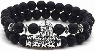 Jocalio, bracciale da uomo Lion & Son Buddha, in ossidiana, bracciale con perle in onice, da donna, stile vintage, con...
