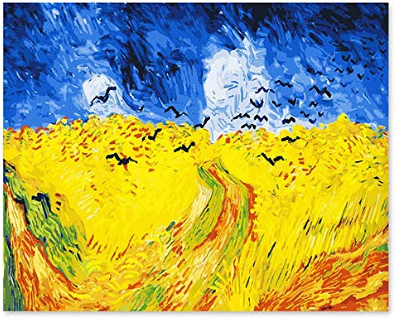 Superlucky Digitale Ölfarbe Van Gogh Landschaft Feld Raven Gemälde nach Zahlen Landschaften Bild von Zahlen 40x50cm mit Rahmen B07K6KR3JD | Ich kann es nicht ablegen