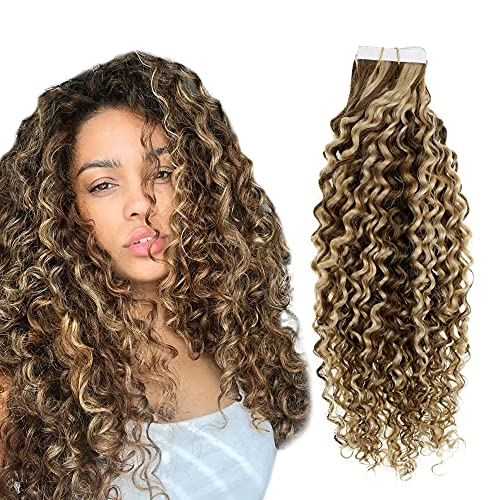 Easyouth Natural Wave Tape in Hair Extensions Human Hair Color Medium Brown Highlight Honey Blonde Tape in Extensions...