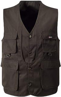 XINHEO Mens Hunting Multi Pockets Gilet Summer Casual Loose Fishing Vest