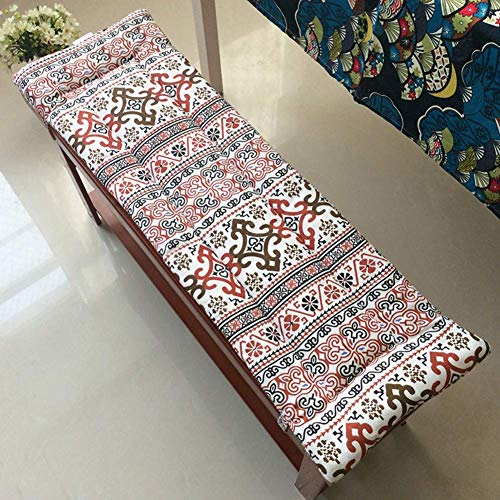 Quilted Indoor Outdoor Bench Seat Cushion, Thickened Soft Swing Chair Cushion, Rectangular Seat Cushion with Laces for Patio Decoration Coccyx Pain A 100x35x2cm