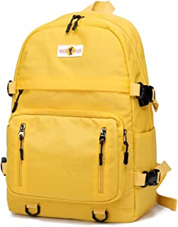 Basic Backpack Unisex College Student Book Bag Travel Daypack for 14 inch Laptop (Yellow)