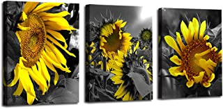 Arjun Canvas Wall Art Sunflowers Yellow Flowers Pictures Bloosom Modern Florals 3 Panels 12