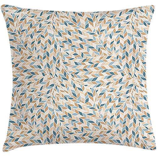 NAN TIAO Blau Beige Throw Pillow Kissenbezug, Stricken Zöpfe Stil Leaf Harvest Fraktale geometrische Natur 18 X 18 Zoll, Kamel Pfirsich Benzin B