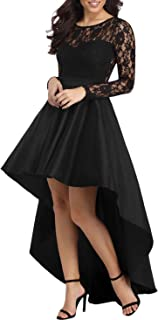 Bdcoco Women's Floral Lace Hi Low Cocktail Party Dress Swing Prom Evening Gowns