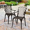 Giantex Aluminum Arm Dining Chairs Set of 2, Durable Cast Solid Construction, Outdoor Patio Bistro Chair w/Hollow Design of Back, for Garden Backyard Poolside Living Room, Cast Arm Dining Chairs