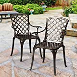 Giantex Aluminum Arm Dining Chairs Set of 2, Durable Cast Solid Construction, Outdoor Patio Bistro Chair w/Hollow Design of Back, for Garden Backyard Poolside Living Room, Cast Arm Dining Chairs (1)