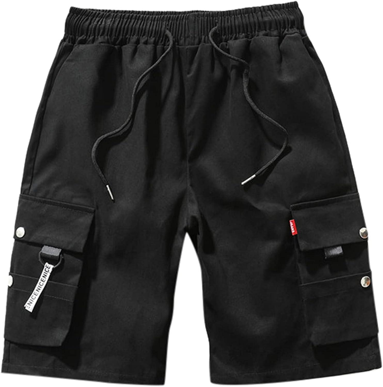 Cotton Casual Shorts for Men Knee Length Multi Pockets Cargo Short Summer Loose Comfy Print Short Pants - Limsea