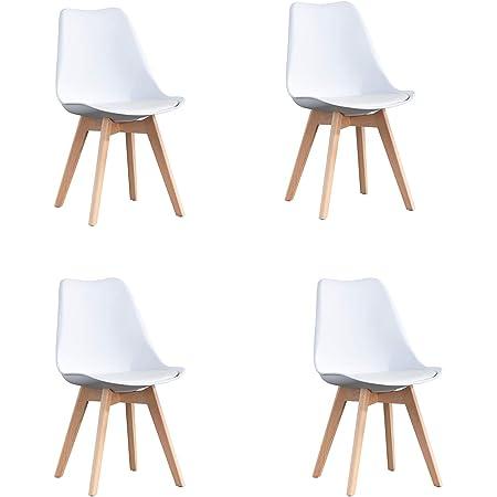 WV LeisureMaster Lot de 4 chaises de Cuisine en Bois, Rétro Rembourrée Chaise de Salle de Bureau avec Coussin en Faux Cuir, Blanc