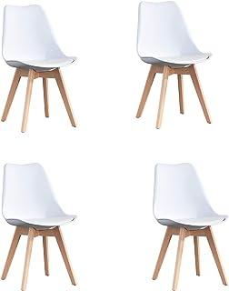 WV LeisureMaster Lot de 4 chaises de Cuisine en Bois, Rétro Rembourrée Chaise de Salle de Bureau avec Coussin en Faux Cui...
