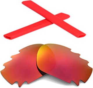 Walleva Polarized Fire Red Vented Lenses And Red Earsocks For Oakley Racing Jacket
