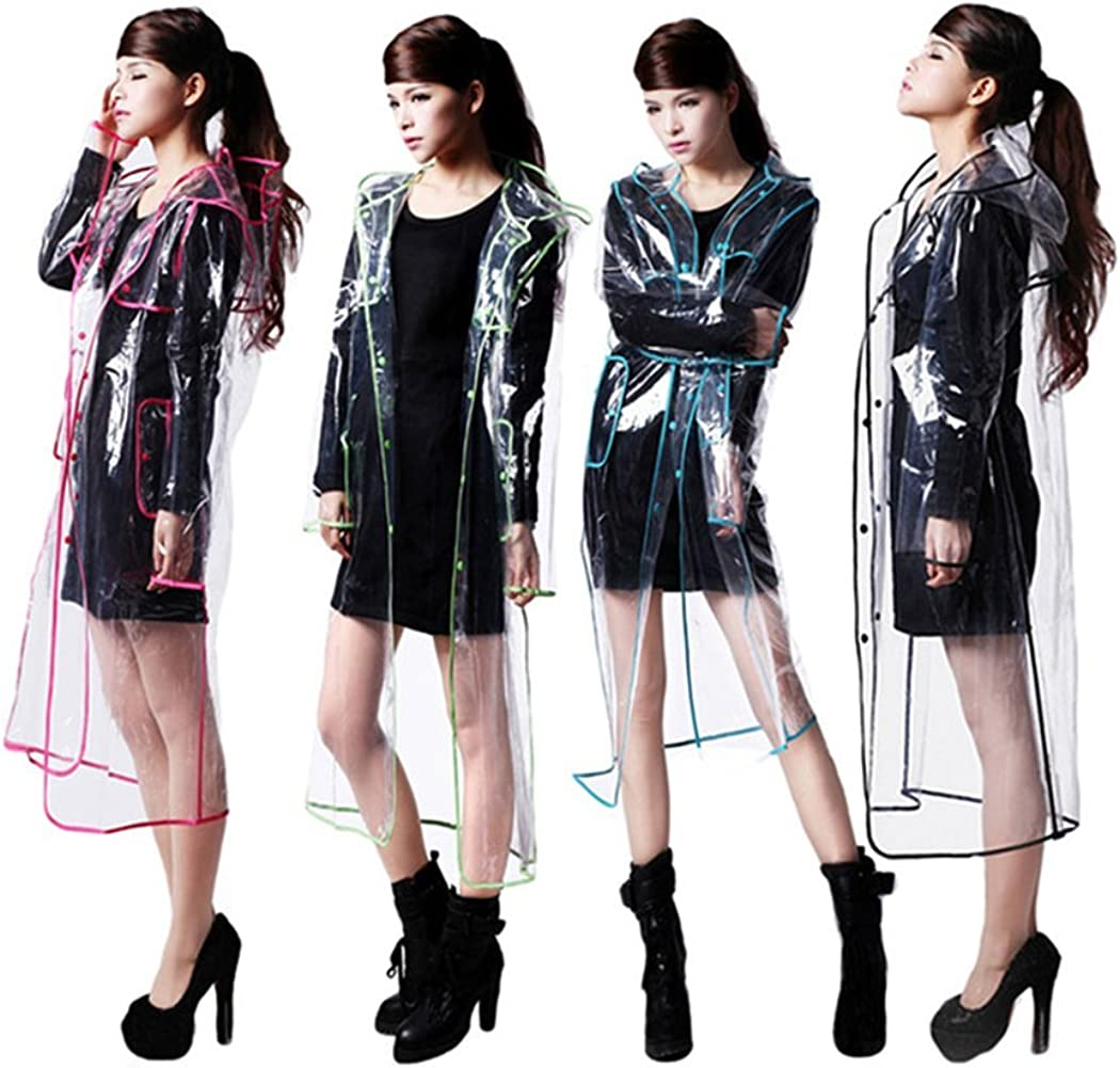 Long Max 61% OFF Transparent Rain Coat with Waterproof Edge Stylish Popular brand in the world Colorful