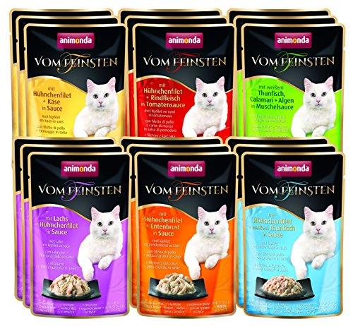 animonda Vom Feinsten Adult Katzenfutter, Nassfutter für ausgewachsene Katzen, im Frischebeutel, Filet Kreationen, 18 x 50 g