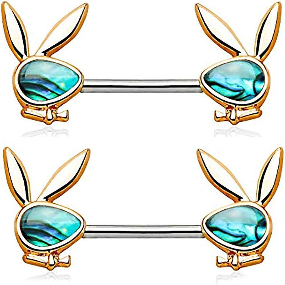 Forbidden Body Jewelry Surgical Steel Abalone Shell Playboy Bunny Emblem Nipple Barbells
