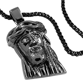 18K Black Gold Plated Solid Plated Mini Jesus Piece Pendant with Box Chain