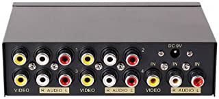 DTECH Powered 4 Way 3 RCA Splitter Box 1 in 4 Out Composite Video Audio Distribution Amplifier with Power Adapter