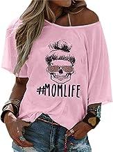 Mom Life Shirt voor dames, schedel, luipaardpatroo...