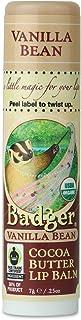 Badger - Cocoa Butter Lip Balm, Vanilla Bean, Certified Organic Lip Balm, Fair Trade, Natural Lip Balm, Lip Butter, Lip Ba...