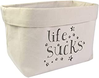 Large 'Life Sucks Text' Canvas Organiser / Storage Bag (OR00005386)
