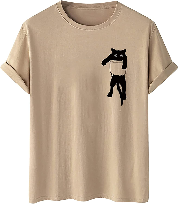 Mens Summer Tee Tops Casual Slim-Fit Letter Print Crewneck Short Sleeve T-Shirt Blouse