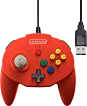 Retro-Bit Tribute 64 USB Controller for PC, Nintendo Switch, Mac, Steam, RetroPie, Raspberry Pi - USB Port - (Red)
