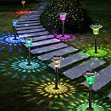 NBPOWER Solar Lights Outdoor, Auto 7 Color Changing Solar Pathway Garden Lights, Landscape Waterproof Lights Effect for Yard Walkway Spike(Set of 6)