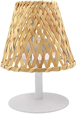 Lampe de table sans fil bambou naturel LED blanc chaud/blanc dimmable IBIZA H26cm
