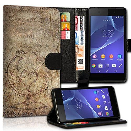 wicostar Book Style Wiko Robby Premium PU-Leder Tasche Flip Brieftasche Handy Hülle Kartenfächer mit Standfunktion für Wiko Robby - Design Flip MVC19