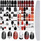 8 Sheets Halloween Nail Stickers Halloween Nail Wraps Self-Adhesive Decals Polish Sticker Strips for Halloween Party with Bat Ghost Witch Design and Nail File
