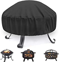 Artwarm Fire Pit Cover Round Brazier Stove Cover Waterproof Windproof Sun Protection for Outdoors Furniture Table Cover