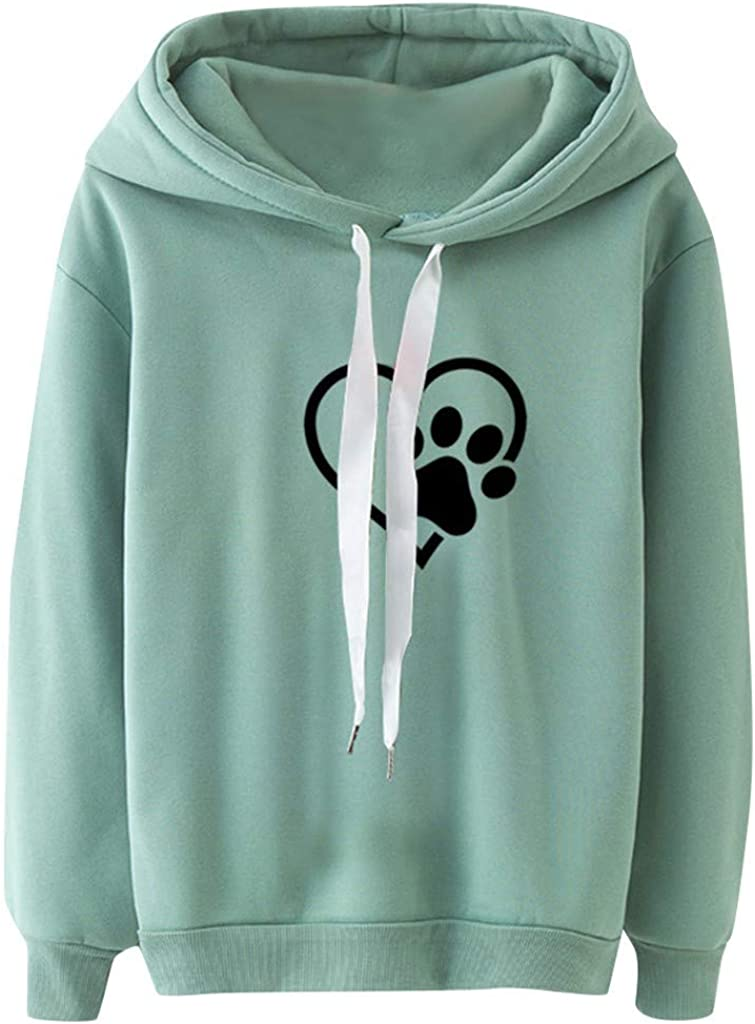 Girls' Hoodie, Misaky Pullover Sweatshirt Casual Love Dog Claws Long Sleeve Drawstring Hooded Blouse