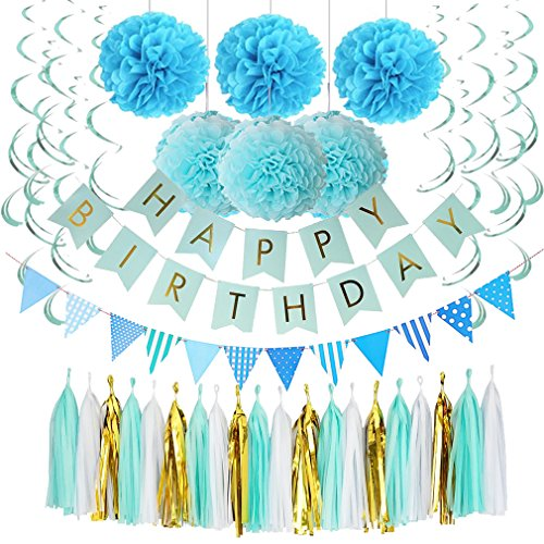 Blue Birthday Decorations, Happy Birthday Banner With Gold Foil Letters, Pom Poms Flowers Kit, Hanging Swirl, Pennant Flags for 1st Birthday, Kids, Girl, Adult, Party Festivals Decoration (Blue)