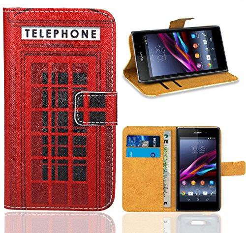 FoneExpert® Sony Xperia Z1 Compact Handy Tasche, Wallet Hülle Flip Cover Hüllen Etui Ledertasche Lederhülle Premium Schutzhülle für Sony Xperia Z1 Compact