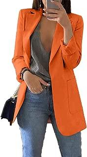 Soluo Women's Solid Long Sleeve Slim Suit Jacket Open Front Blazer Fit Work Office Cardigan Coat