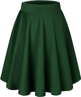 Bridesmay Women's Mini Skirt Basic Solid Versatile Stretchy Informell Mini Dress Retro Sexy Skirt Pleated Skirt