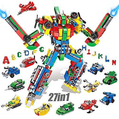 VATOS Blocchi da Costruzione - 644 PCS Alfabeti Robot Costruzioni Giocattolo Kit 27-in-1 Robot Costruzioni Giocattolo Toys per Ragazzi Ragazze Bambini età 5 6 7 8 9 10 11 12 Anni Regalo