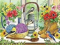 大人の子供のためのDIY油絵 スズメの糸のティーポット 数字で描く油絵キットカラフルなアクリル画ブラシ付きペイント40x50CM(フレームなし)家の壁の装飾用