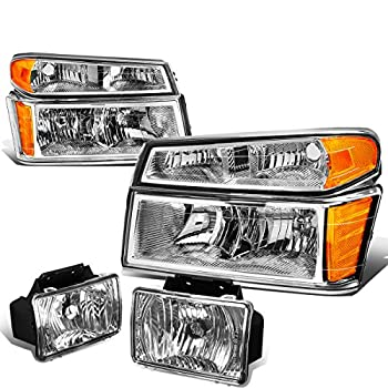 Replacement for Colorado/Canyon Pair of Chrome Housing Amber Corner Headlights+Clear Lens Fog Lights